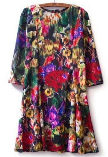 Multi Long Sleeve Floral Loose Dress