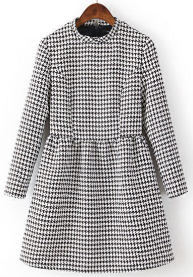 Black White Long Sleeve Houndstooth Dress