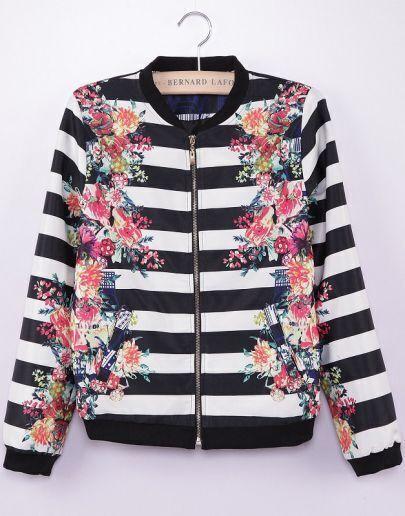 Black White Striped Long Sleeve Floral Jacket