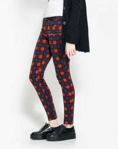 Red Slim Plaid Zipper Pockets Leggings