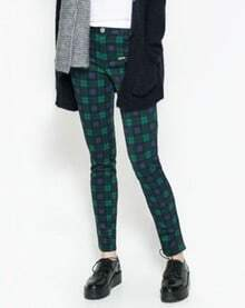 Green Slim Plaid Zipper Pockets Leggings