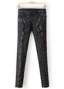 Dark Grey Contrast PU Leather Slim Pant