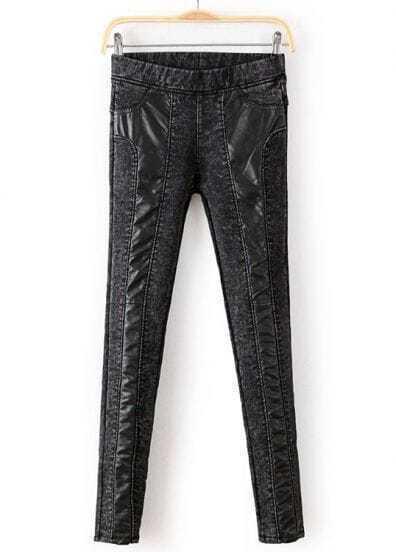 Dark Grey Contrast PU Leather Slim Pant