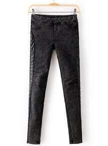Dark Grey Contrast PU Leather Denim Pant