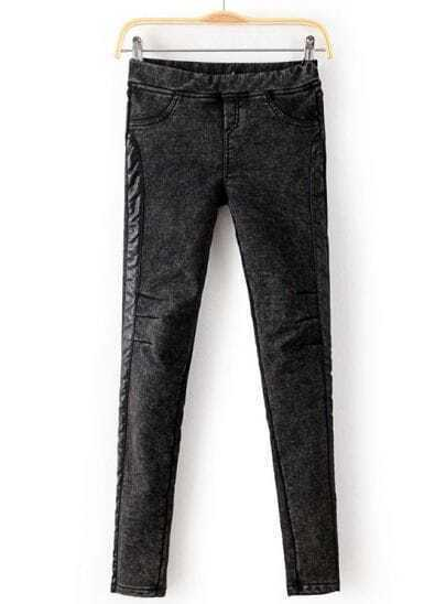 Dark Grey Contrast PU Leather Denim Pant