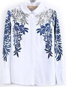 White Lapel Long Sleeve Porcelain Print Blouse
