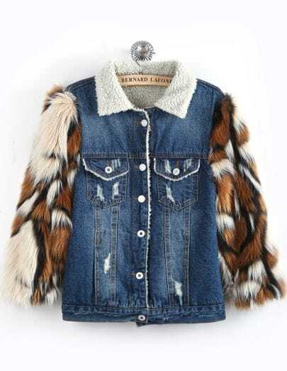 Blue Contrast Faux Fur Long Sleeve Denim Coat