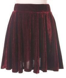 Red Pleated High Waist Skirt