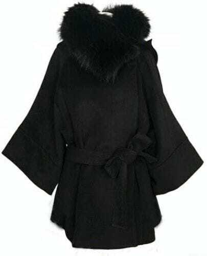 Black Long Sleeve Fur Collar Hooded Cap Wool Coat
