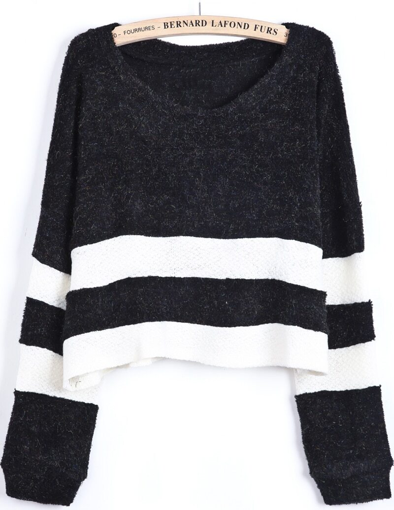 Black Contrast White Long Sleeve Crop Sweater -SheIn(Sheinside)