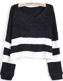 Black Contrast White Long Sleeve Crop Sweater