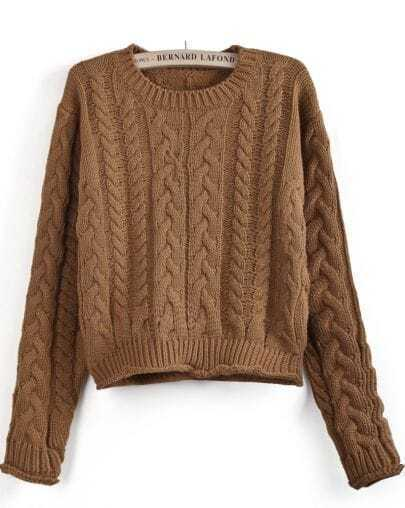 Khaki Long Sleeve Cable Knit Crop Sweater
