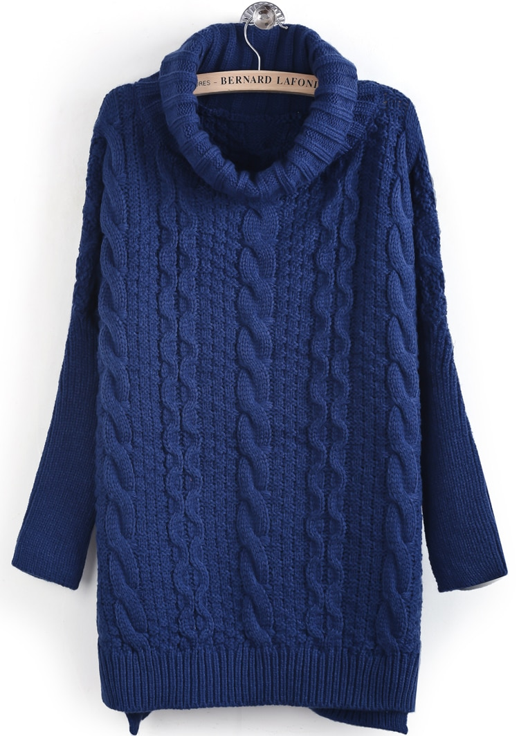 Blue High Neck Long Sleeve Cable Knit Sweater -SheIn(Sheinside)