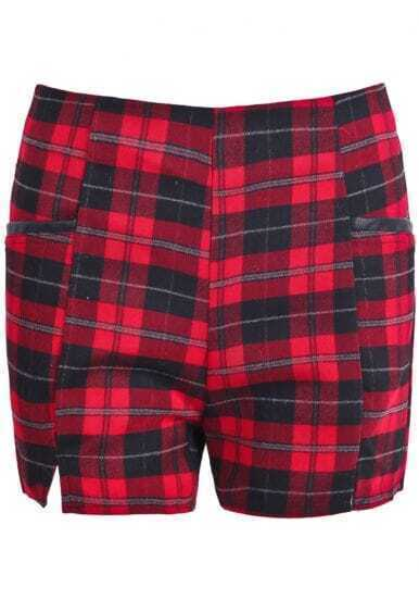 Red Contrast PU Leather Plaid Shorts