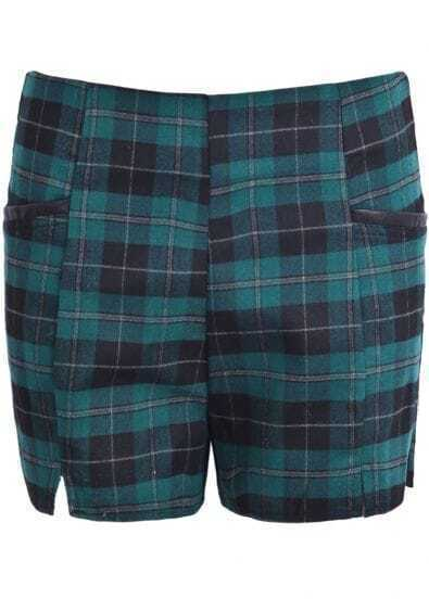 Green Contrast PU Leather Plaid Shorts
