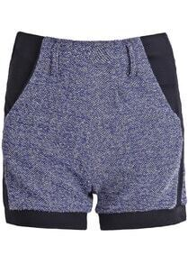 Blue Contrast Trims Metallic Yoke Shorts