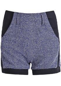 Blue Contrast Trims Metallic Yoke Shorts