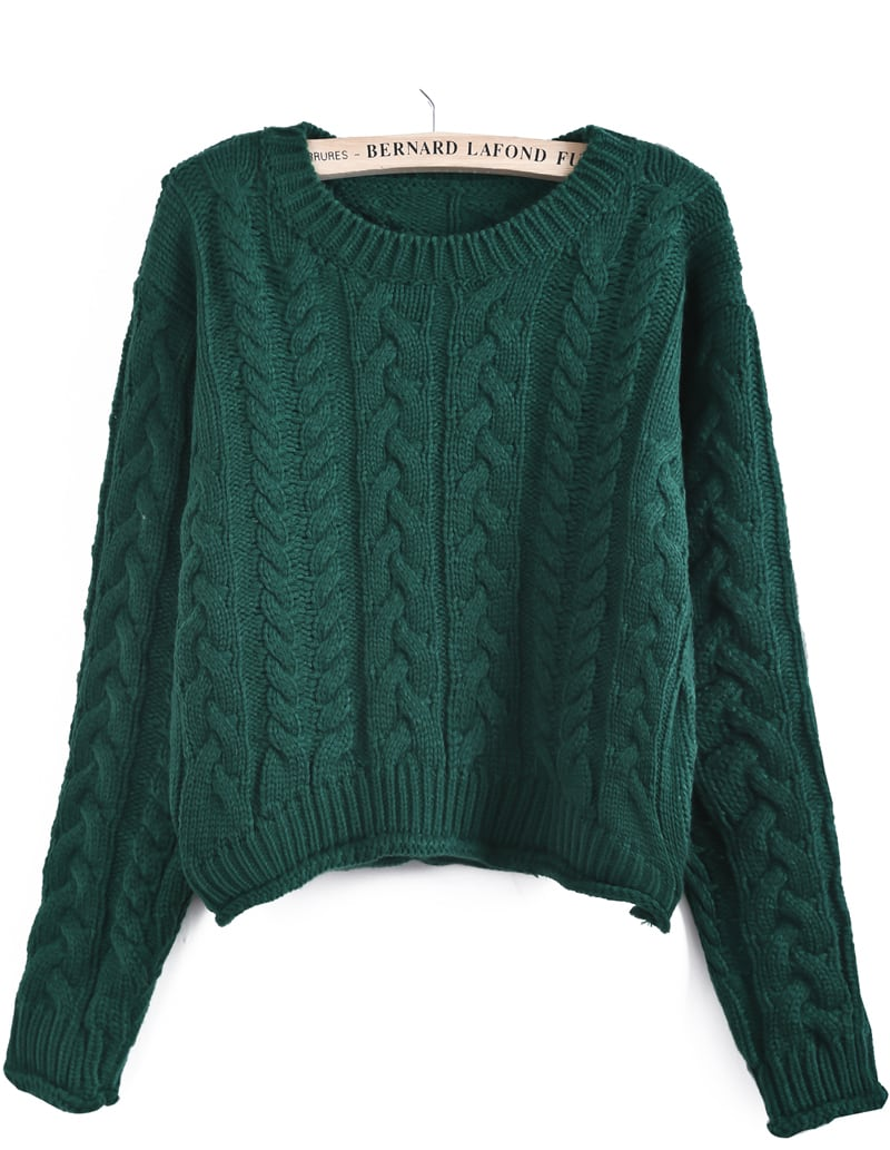 Green Long Sleeve Cable Knit Crop Sweater -SheIn(Sheinside)
