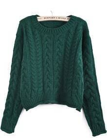Green Long Sleeve Cable Knit Crop Sweater
