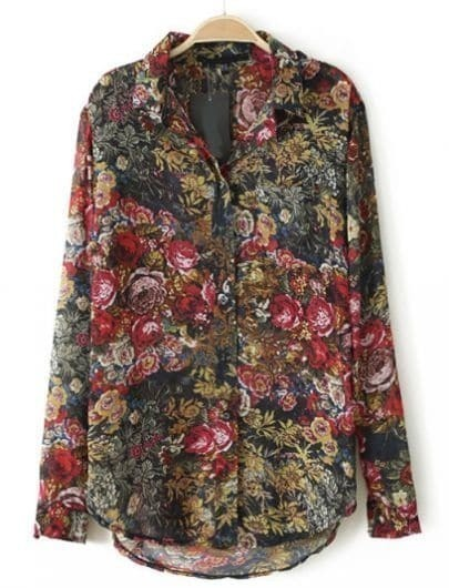 Red Stand Collar Long Sleeve Rose Print Blouse