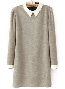 Khaki Embroidered Collar Long Sleeve Dress