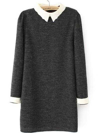 Grey Embroidered Collar Long Sleeve Dress