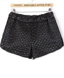 Black Elastic Waist Contrast PU Leather Plaid Shorts