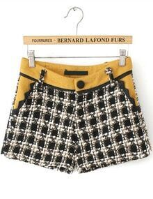 Yellow Pockets Plaid Tweed Shorts