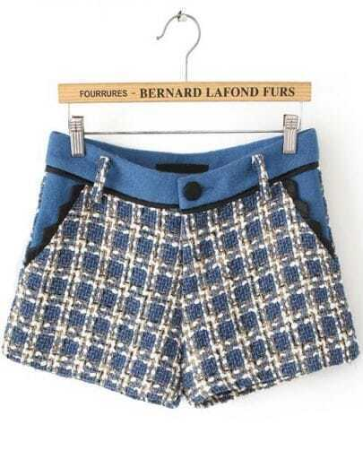 Blue Pockets Plaid Tweed Shorts