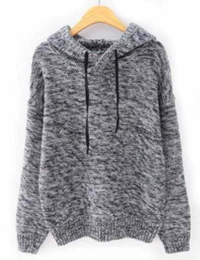 Grey Hooded Long Sleeve Drawstring Knit Sweater