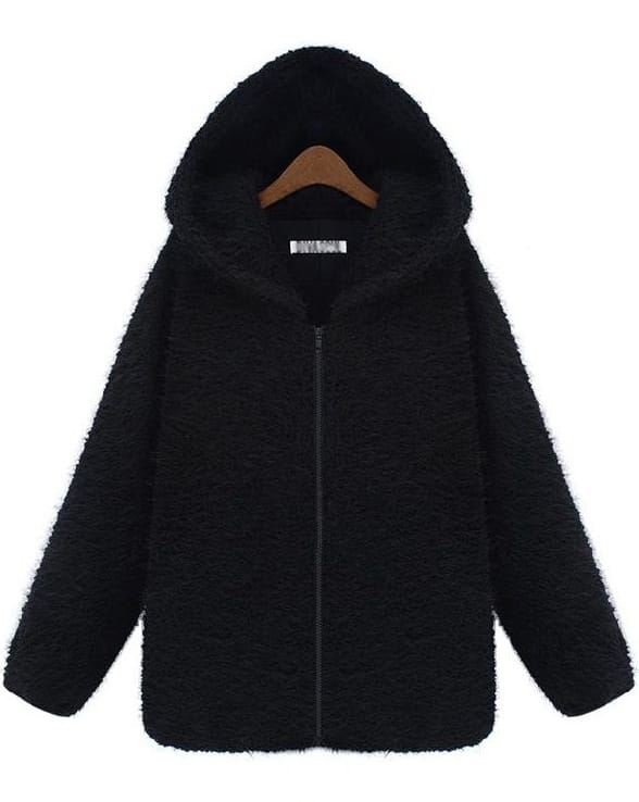 Black Hooded Long Sleeve Zipper Loose Coat -SheIn(Sheinside)