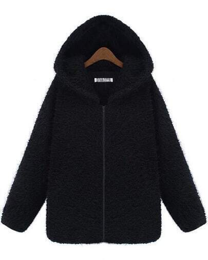 Black Hooded Long Sleeve Zipper Loose Coat