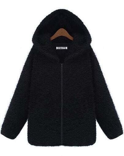 Black Hooded Long Sleeve Zipper Loose Coat