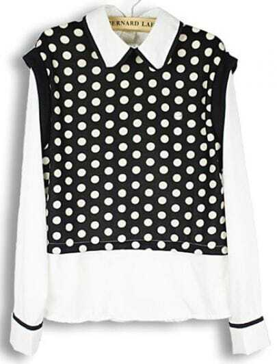 Black White Long Sleeve Polka Dot Blouse