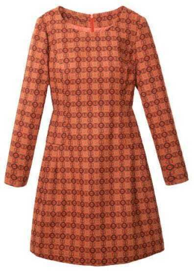 Orange Long Sleeve Back Zipper Houndstooth Dress