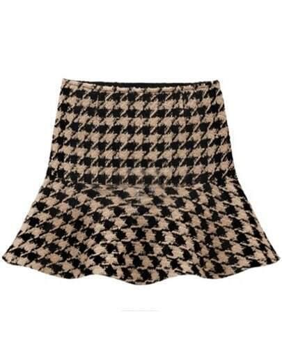 Khaki Vintage Houndstooth Ruffle Skirt