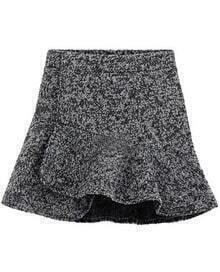 Light Grey High Waist Ruffle Woolen Skirt