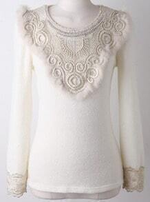 White Long Sleeve Bead Embroidered Sweater