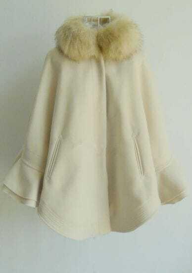 Beige Fur Collar Batwing Sleeve Cape Coat