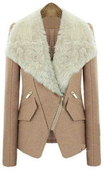 Camel Long Sleeve Fur Lapel Oblique Zip Coat
