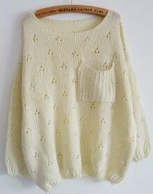 Beige Long Sleeve Hollow Pocket Loose Sweater