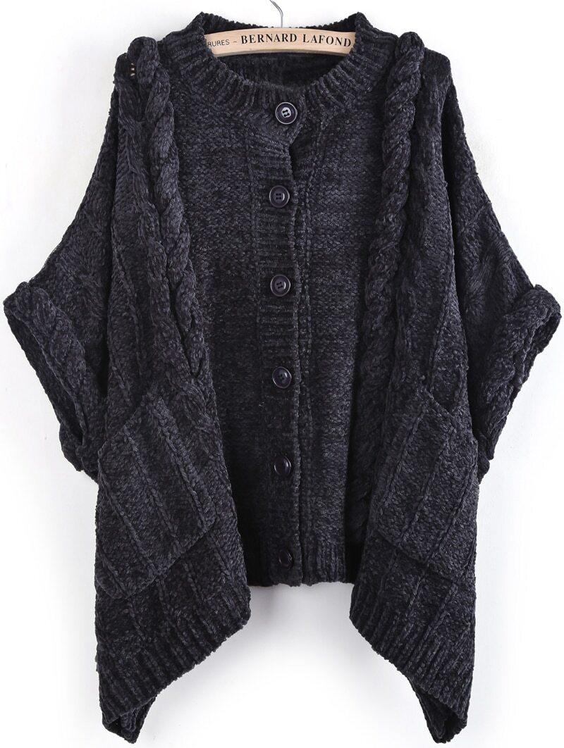 Dark Grey Batwing Sleeve Cable Knit Cardigan -SheIn(Sheinside)