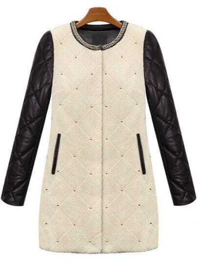 Apricot Contrast Long Sleeve Diamond Patterned Coat