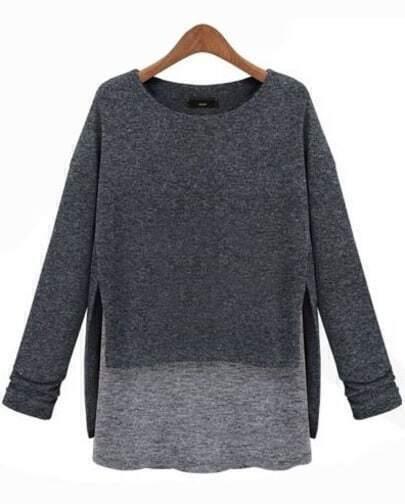 T-Shirt asymétrique et contrasté -Gris