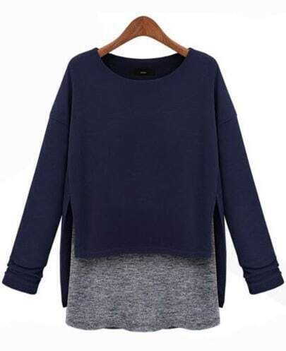Blue Long Sleeve Contrast Asymmetrical Loose T-Shirt