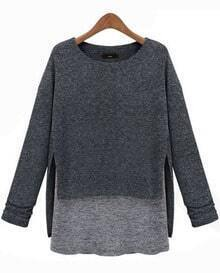Grey Long Sleeve Contrast Asymmetrical Loose T-Shirt