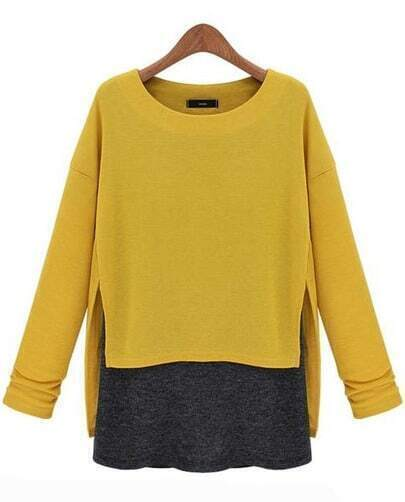 Yellow Long Sleeve Contrast Asymmetrical Loose T-Shirt