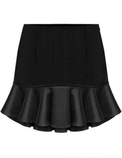 Black Contrast PU Leather Ruffle Skirt