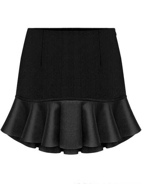 black contrast pu leather ruffle skirt shein sheinside
