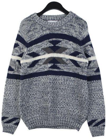 Blue Long Sleeve Geometric Pattern Knit Sweater